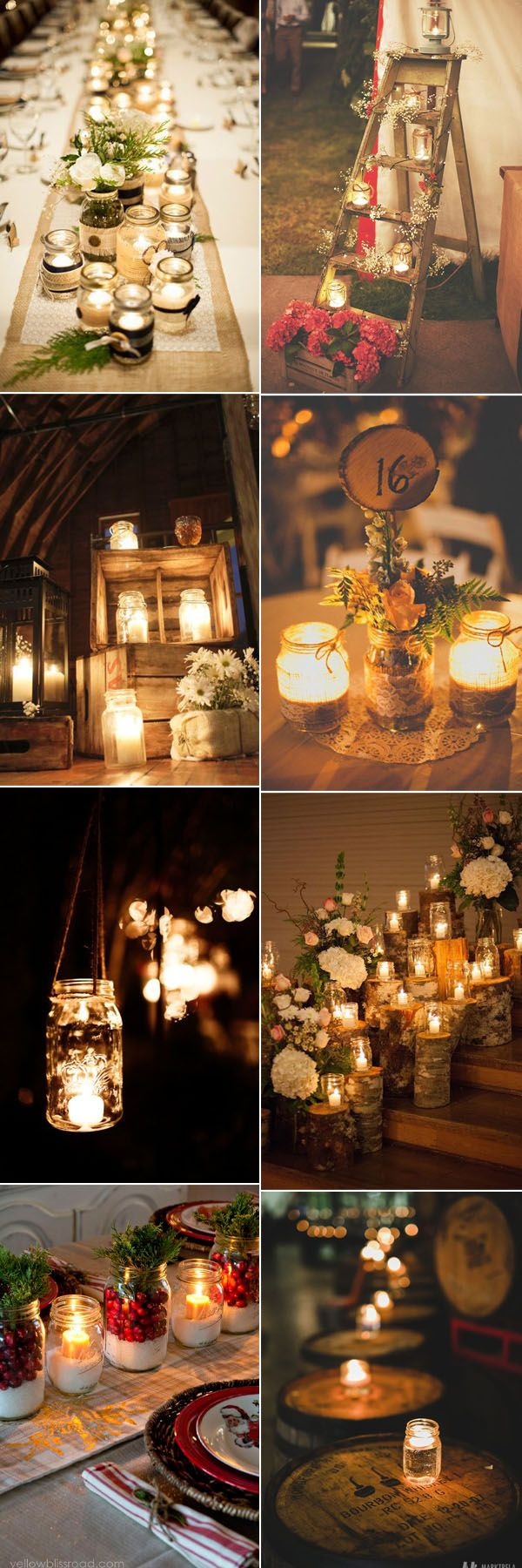 creative ideas to add mason jar candle lights to your rustic weddings