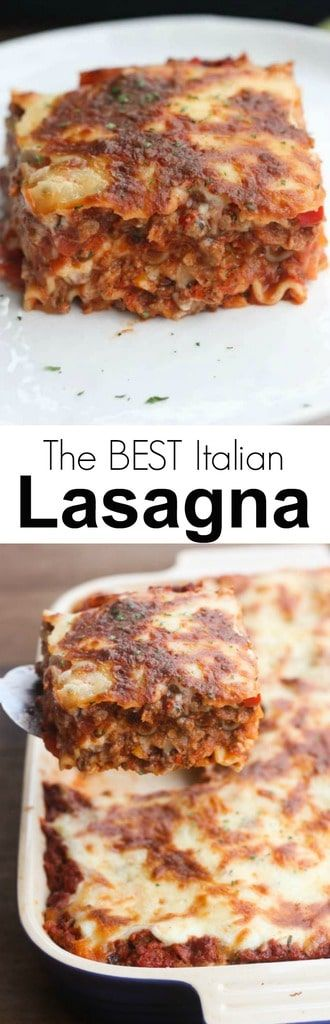 The BEST classic Italian lasagna recipe. Made with an easy homemade bechamel white sauce (no ricotta!) and red meat sauce. #lasagna #familyfriendly #pasta #Italian