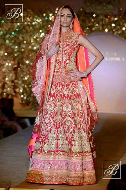 Abu Jani Sandeep Khosla red bridal lehenga