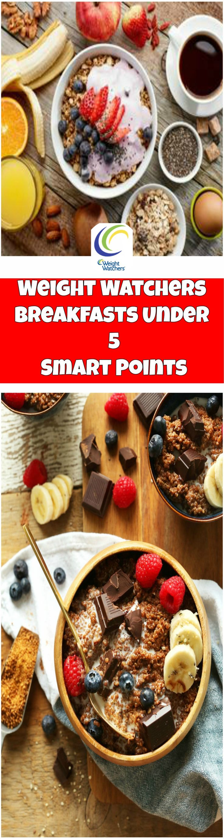 Weight Watchers Breakfasts Under 5 Smart Points  weight watchers recipes with points breakfast lunches, mornings, eggs, oatmeal, easy, weekly meal plans, snacks, dinners, muffins, smoothie, desserts, overnight oats, website, clean eating, french toast,