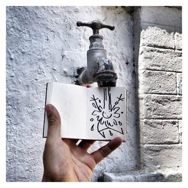 """Voici """"ELYX"""",un adorable petit doodle qui se promène à travers Paris, la France mais aussi divers endroits du monde grâce au carnet de croquis de YAK,son"""