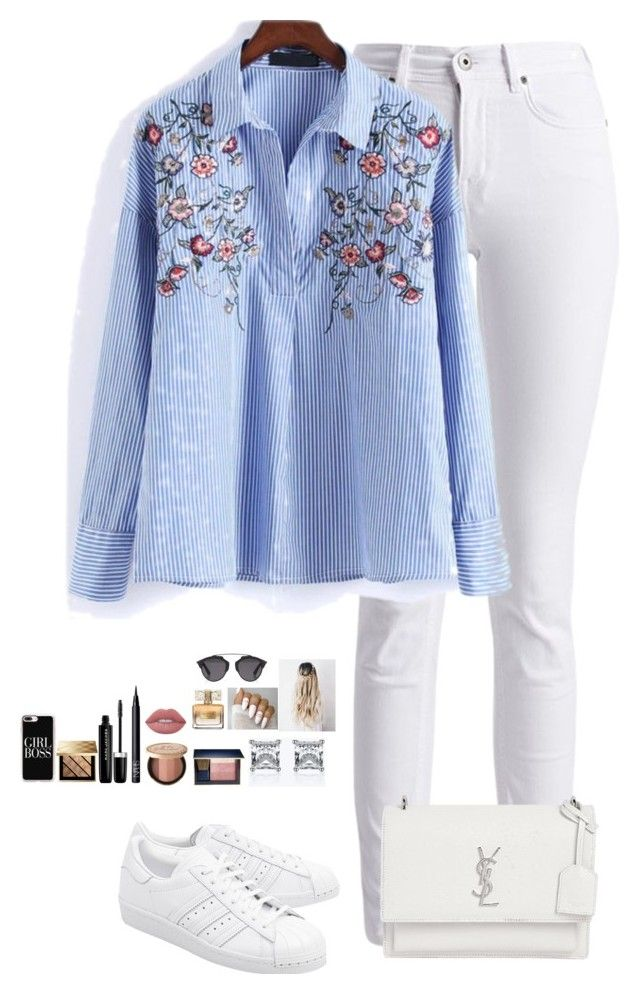 """""""Untitled #477"""" by mariapangal on Polyvore featuring Barbour International, adidas Originals, Yves Saint Laurent, Estée Lauder, Too Faced Cosmetics, NARS Cosmetics, Marc Jacobs, Burberry, Lime Crime and Givenchy"""