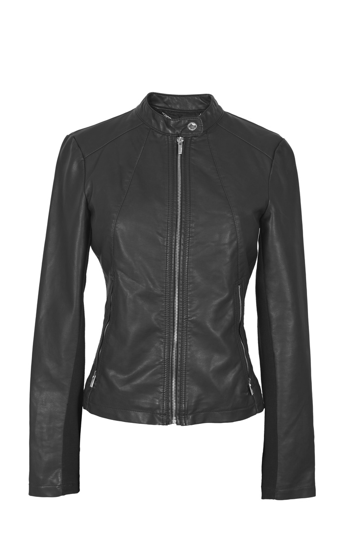 Black leather jacket with zip