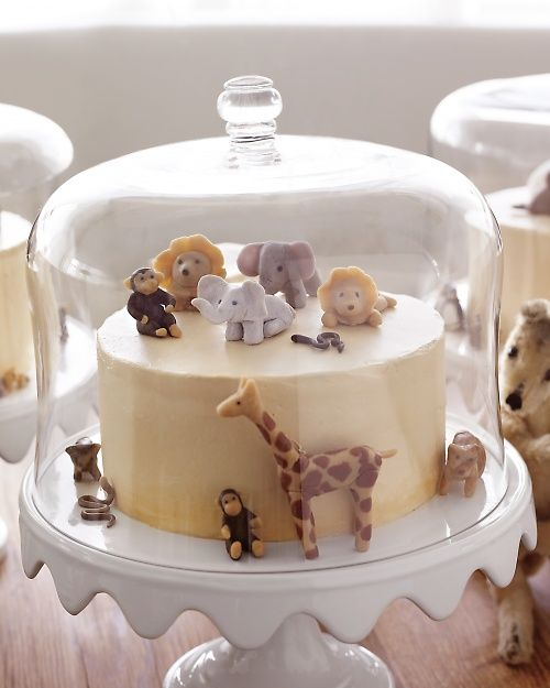 Brown-Sugar Layer Cake with Caramel Buttercream Frosting - Martha Stewart Recipes - and the marzipan animals,as well~!