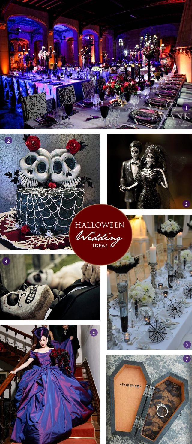 Halloween Wedding Dress with a Skeleton wedding cake.