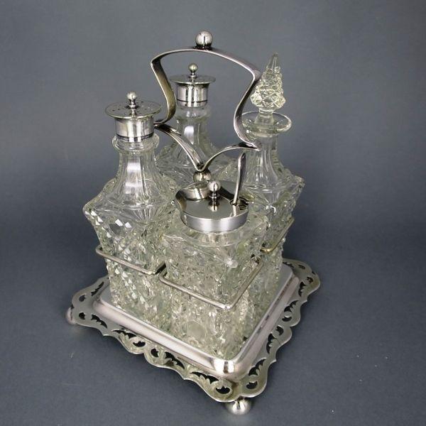 Gewürzständer Menage / Silver glass menage
