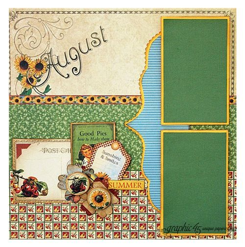 Try this Place in Time August layout with a printable project sheet #graphic45 #projectsheets #tutorials