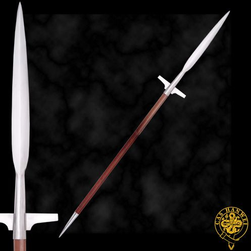 """At 6' 8"""" long, on a 1"""" diameter shaft, our War Spear (XH1078) has a distinct Viking ancestry and Frankish styling. The lugged head is balanced by a tailspike, providing the ultimate in pillaging pieces."""