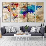 22623 - World Map Wall Art- World Map Canvas- World Map Print- World Map Poster- World Map Art- World Map Push Pin
