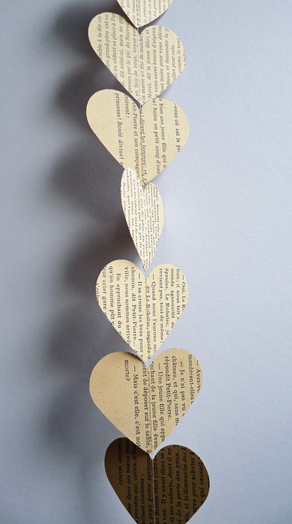 Paper garland hearts made from vintage french book pages