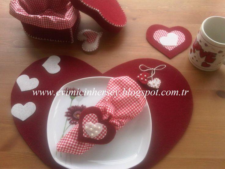 Valentine Set Keçe Amerikan servis seti Kalpli amerikan servis