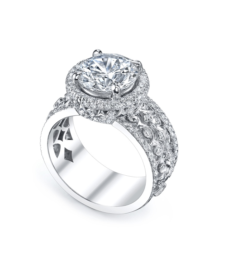 Truly a modern estate look! Available in any center stone shape and in 18K Rose, White, or Yellow Gold (or any combination of two). By Michael B.  Available at Alson Jewelers.18K Rose, Pretty Things, Alson Jewels, Quintessa Collection, Mama Travel, Center Stones, Stones Shape, Modern Estate, Engagement Rings