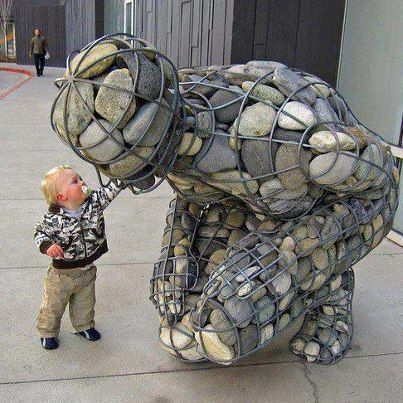 Kneeled-Down Stone Giant by Unknown Artist ~ #Art #Sculpture