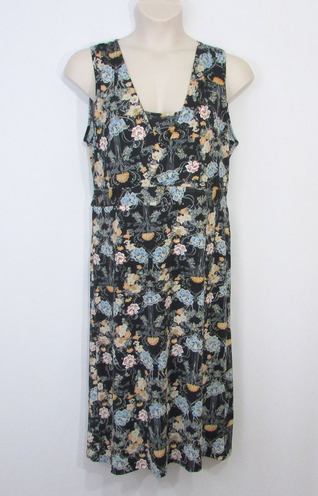 3ca08afe8 NEW Womens BELLA BERRY Black Green Blue Floral Empire Waist Back Ties Dress  Size #BellaBerry #ALineDress #AnyOccasion