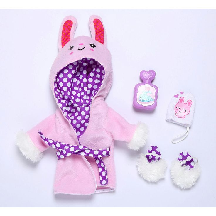 Baby Alive One Size Fits All Outfits  - Plush Bunny Bath Robe. Fits dolls Baby Alive dolls sized 12 - 14 inches. Doll sold separately. This bathrobe set comes in purple and pink with a bunny hood, fuzzy slippers, wash cloth and bubble bath. Appropriate for ages 3 and up.<br>