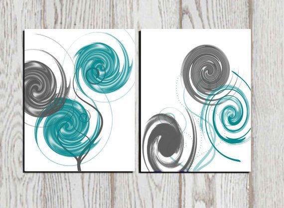 Abstract art Abstract print Gray Teal White printable home decor Modern wall  art Office Wall decor Circle decor Living room decor Set of 2