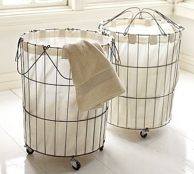 Florence Wire Hamper & Liner #potterybarnFlorence Wire, Potterybarn, Wire Hampers, Laundry Room Organic, Baby Room, Wire Baskets, Pottery Barns Inspiration, Laundry Baskets, Entryway Organic
