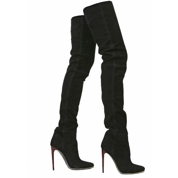 Kinky boots ❤ liked on Polyvore featuring shoes, boots, heels, black, black boots, leather boots, leather heel boots, thigh boots and over knee boots