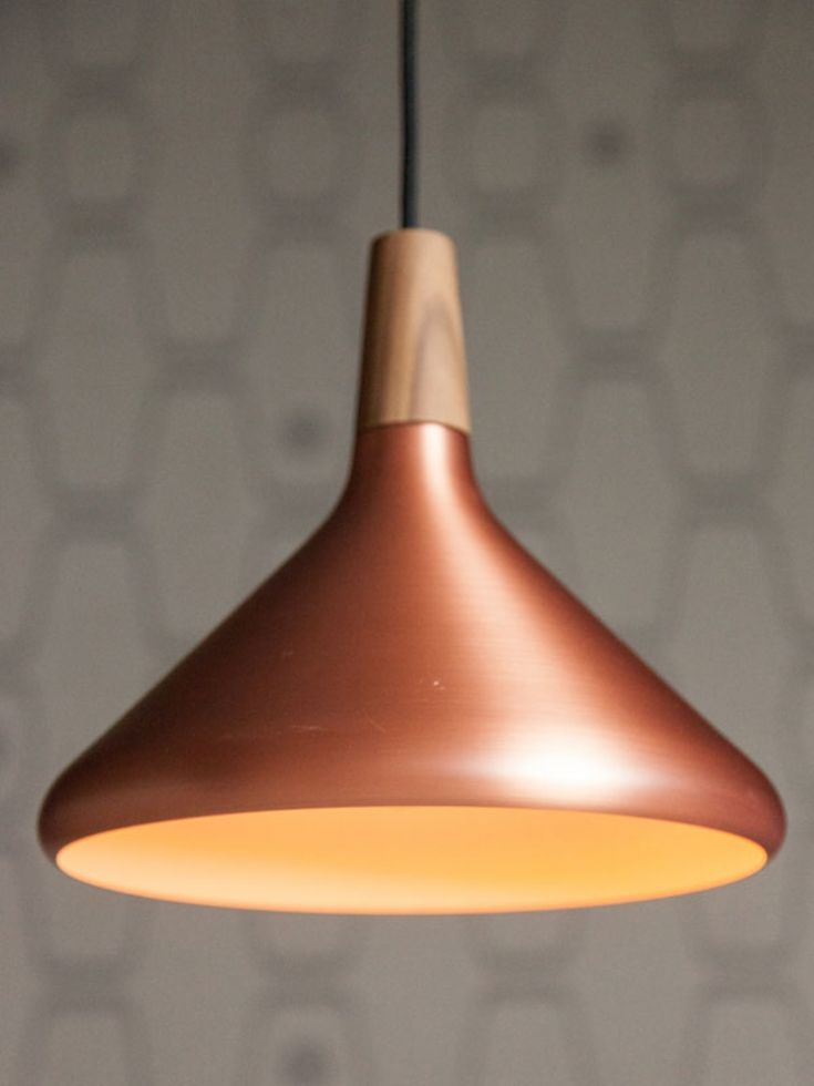 Copper and wood pendant light