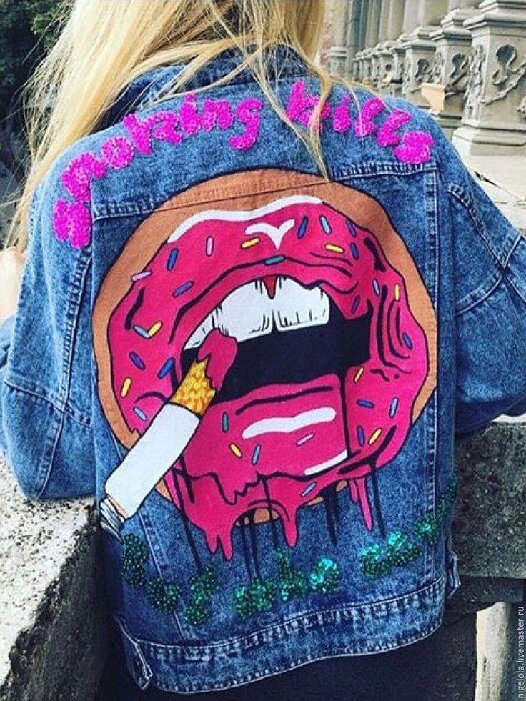 Купить или заказать Ручная роспись. Футболока. Джинсовая куртка. Свитшот в интернет-магазине на Ярмарке Мастеров. Ручная роспись футболок, маек, джинсовых курток, свитшотов и всего на что хватит вашей фантазии!! Рисунок любой. Выбираете из моих работ или скидываете понравившуюся картинку и я рисую. На чем рисую? на Вашей футболке и всем вышеперечисленном или я покупаю футболку, например, в 'твое' (магазин). Ограничений нет, краски держаться оооочень долго, при условии 'деликатной&...