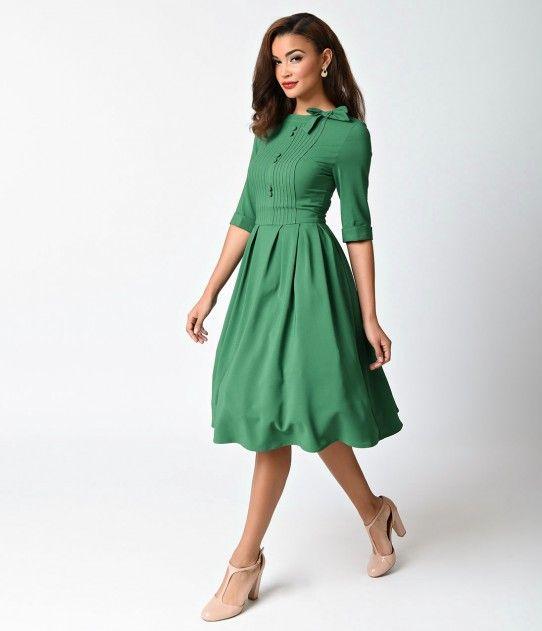 Hell Bunny 1940s Style Green Crepe Half Sleeve Madison Swing Dress