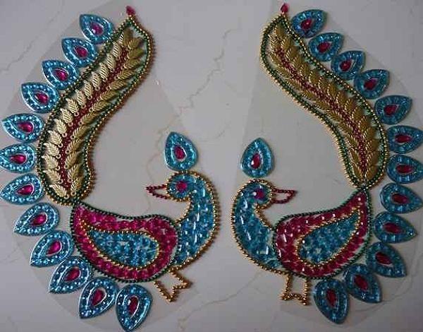 Peacock Rangoli for Diwali. Made with kundan