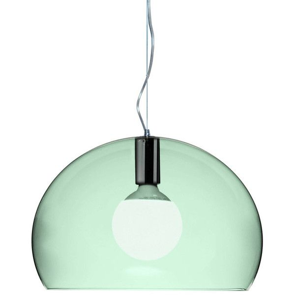 Kartell Small FL/Y Transparent Pendant Light - Sage (€175) ❤ liked on Polyvore featuring home, lighting, ceiling lights, green, bubble light, transparent shades, green pendant light, bubble pendant light and green shade
