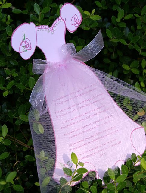 Prinzessinen Party Einladungs Karte basteln *** DIY party Princess Invitation with tulle and pearl beading