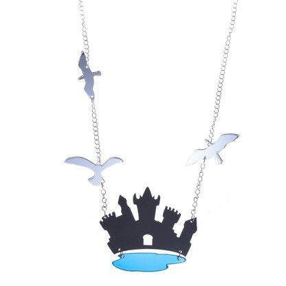 TORNI Magic Castle long necklace in Black, Silver and Blue. Made in Finland by KiviMeri.