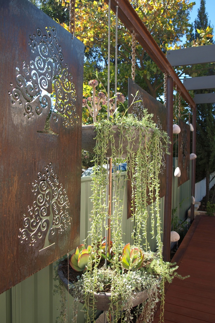 Metal Garden Screen And Hanging Containers
