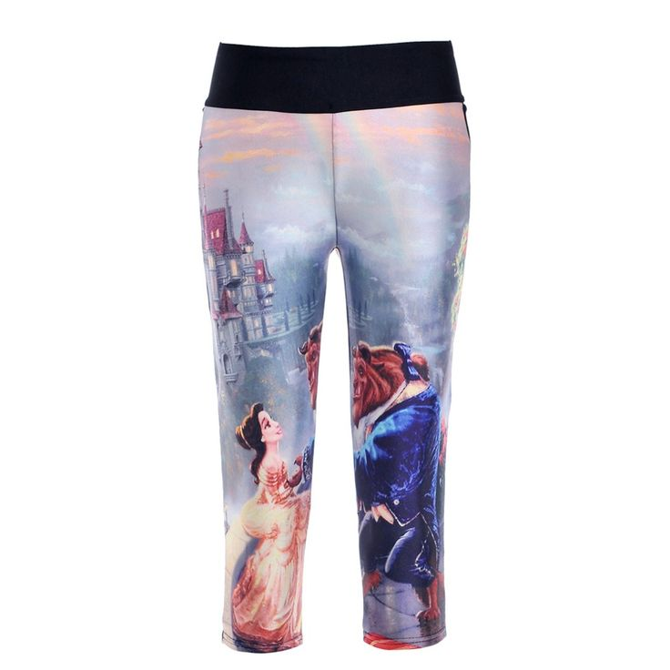 Waist capris adventure time black milk calzas deportivas mujer fitness 3d print Beauty and the beast women leggings pants #jewelry, #women, #men, #hats, #watches