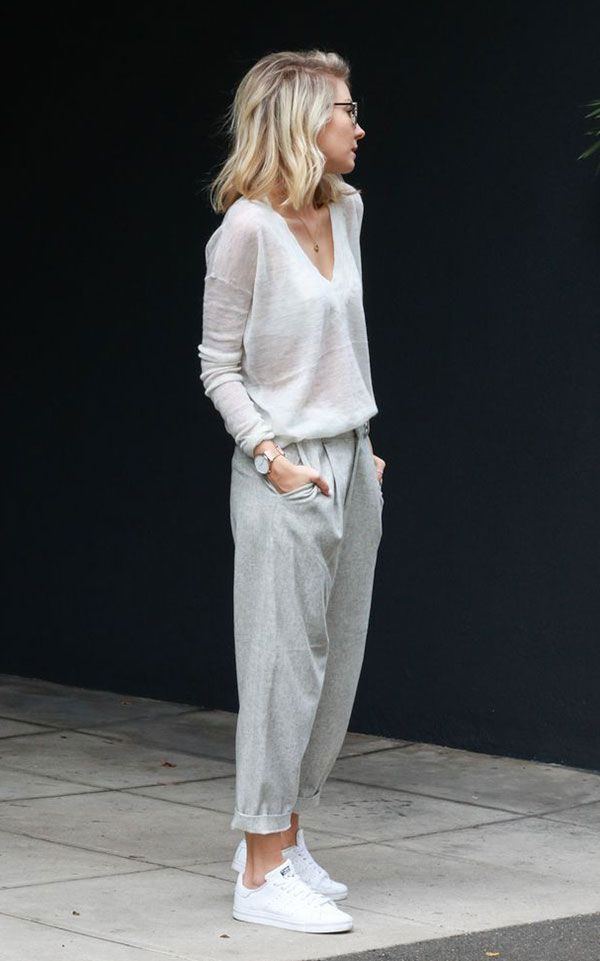 V neck Sweater styled with sweat pants  Similar style avaiable on siizu.com