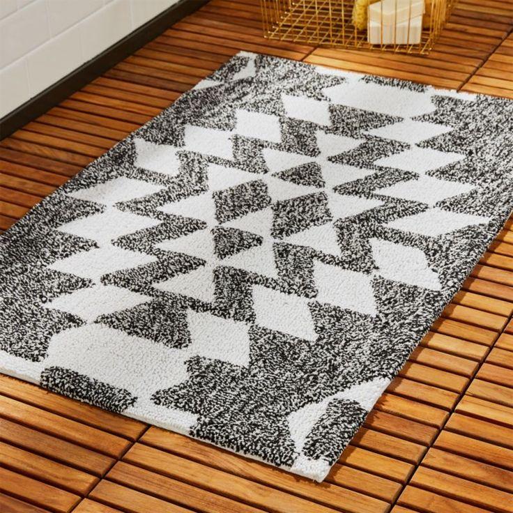 Shop Alma Black And White Geometric Bath Mat Geometric Zigzag