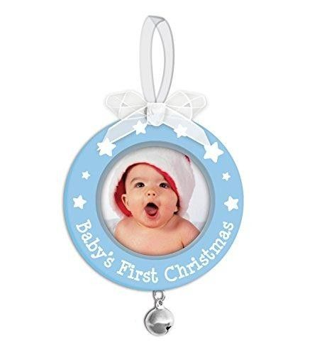 Tiny Ideas Baby's First Christmas Ornament, Blue  Celebrate baby s first #Christmas with this adorable #photo #ornament. The blue ornament features stars and Baby s First Christmas painted in white. The perfect addition to any parent s tree.