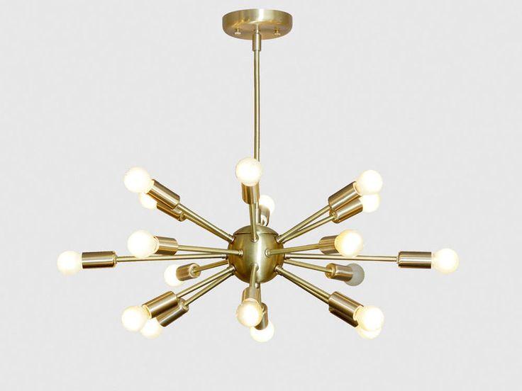 Mid Century Modern Brushed Brass Sputnik Chandelier Light Fitting 18 Arm Bulbs 24inch diam by InscapesDesign on Etsy https://www.etsy.com/uk/listing/514858113/mid-century-modern-brushed-brass-sputnik