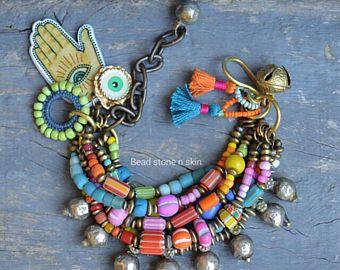 Boho, hippie, bracelet, Ethnic multi strand bracelet, Gypsy bracelet, Tribal bracelet, Trade bead bracelet, Bell,