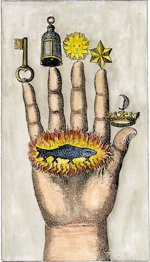 Alchemical symbols on The Hand of Philosophy, from 1667. A salamander surrounded by flames can be seen on the palm.