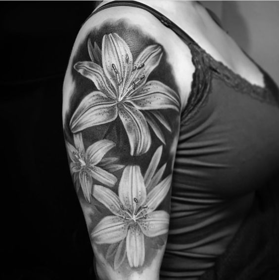 Black And Grey Tiger Lily Tattoos On Half Sleeve