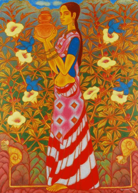 A Ramachandran New Delhi India Offering Travelogue Of Snail Oil On Canvas X 2009