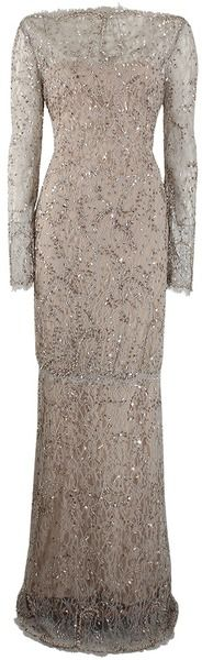 MARCHESA Long Sleeve Beaded Lace Gown