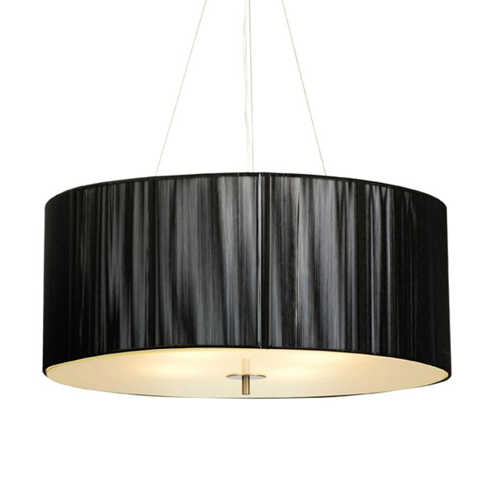 Black silk round pendant light