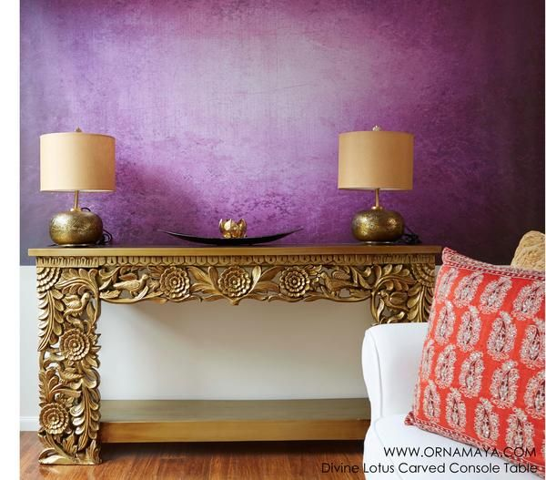 Ornamaya Divine Lotus Timber Foyer Table in Antique Gold.