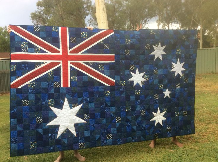 """Great Australian Quilts 5 Magazine 2015."" Love this! Might attempt to do this on all my military quilts, would be nice for them to have two sides they can choose from. This link doesn't come with the pattern, so you (and I) will need to draw the pattern up ourselves. My quilts are 42"" x 75"". I'd do 2"" x 2"" squares (21 by 37 squares; 777 in total - God's number! Just have an extra .25 border at top + bottom).  Southern Cross is 1/2 of the space, the Union Jack 1/4 and the Commonwealth Star…"
