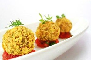 Chef Yourself - Aubergine meatballs with cornflakes