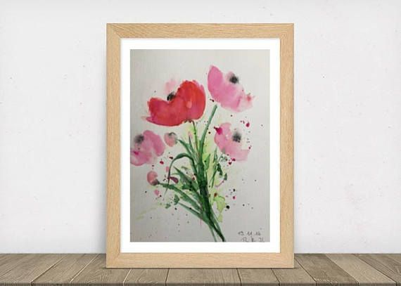 ORIGINAL AQUARELL Aquarellmalerei Blumen Mohnblumen Bild Kunst Art Watercolor Fl…