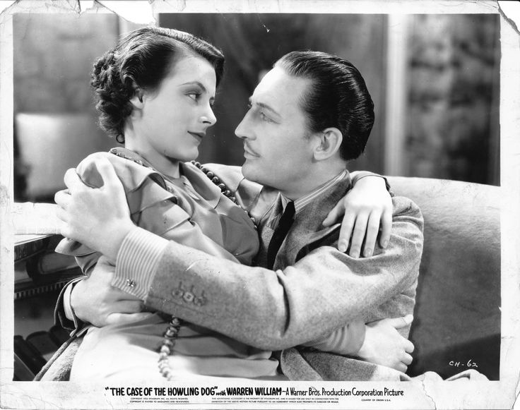 Helen Trenholme as Della Street, Warren William as Perry Mason in The Case of the Howling Dog (1935).  From the Jim Davidson Collection.