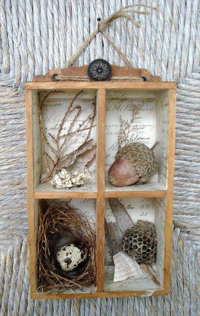 nature shadow box - I wonder where my bird nest is packed? :)