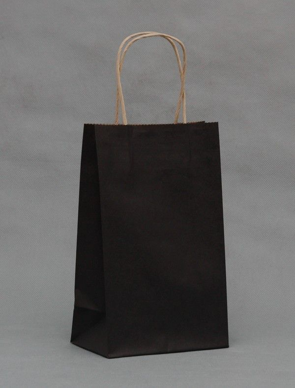 Size 21x13x8 Gift Paper Bags shopping Black Color Kraft Promotion bag for jewelry bags Wholesale Free Shipping 50pcs/lot #Affiliate