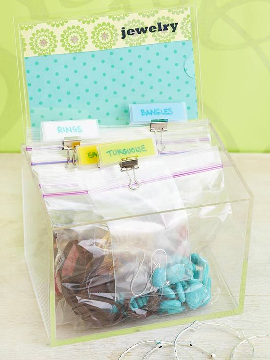 Tackle Tangles - Preserve jewelry and prevent tangles and scratches by sorting pieces into bags. Label and organize in a clear recipe-card holder for an easy DIY jewelry box.