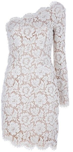 I wish - Stella Mccartney Asymmetric Lace Dress in Beige (nude) leaving